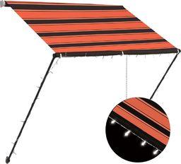 vidaXL Zwijana markiza z LED, 150x150 cm, pomarańczowo-brązowa