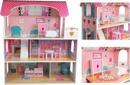 Import leantoys Domek dla lalek Drewniany Villa Milena Różowy