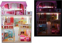 Import leantoys Domek dla lalek Drewniany Melisa Różowy LED