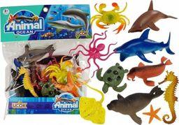 Import leantoys Zestaw Figurek Zwierzęta Morskie Gumowe 12 sztuk
