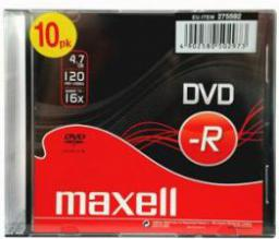 Maxell DVD-R MAXELL 4,7 GB 16x SLIM 10 PACK (275592.40.TW)