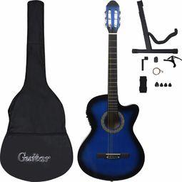 vidaXL 12-cz. zestaw z gitarą westernową, 6 strun, equalizer niebieska