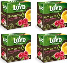 LOYD Herbata LOYD Green zielona z maliną 80 torebek piramidki