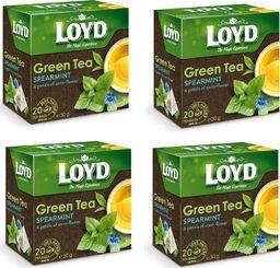 LOYD Herbata LOYD Green zielona z miętą i bławatkiem 80 torebek piramidki