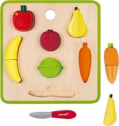 Janod Układanka drewniana 3D Warzywa i owoce zestaw do krojenia z magnesami 2+ Janod