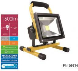 Naświetlacz Whitenergy LED 20W, 6000K, 1600lm, biała zimna, IP65, Na stojaku, Akumulator (09924)