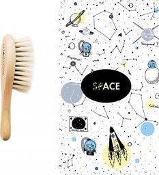 LullaLove Średnio-twarda szczotka z naturalnego włosia w zestawie z muślinową myjką