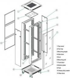 Szafa Linkbasic stojąca rack 19'' 42U 600x800mm szara (drzwi perforowane) (NCB42-68-IFB-C)