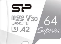 Karta Silicon Power Superior MicroSDXC 64 GB Class 10 UHS-I/U3 A2 V30 (SP064GBSTXDA2V20SP)