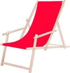 Springos Leżak plażowy z podłokietnikami z czerwonym materiałem UNIWERSALNY