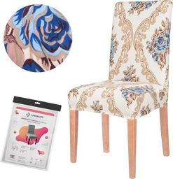 SPRINGOS Pokrowiec na krzesło uniwersalny kremowy glamour UNIWERSALNY