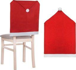 SPRINGOS Świąteczny pokrowiec na krzesło czapka mikołaja czerwony UNIWERSALNY