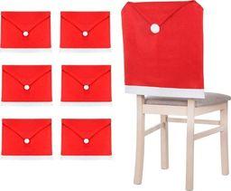 SPRINGOS Świąteczny pokrowiec na krzesło czapka mikołaja czerwony zestaw 6 szt. UNIWERSALNY