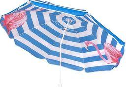 SPRINGOS Parasol plażowy ogrodowy 180 cm niebieski z flamingiem UNIWERSALNY