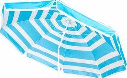 SPRINGOS Parasol plażowy ogrodowy 220 cm niebiesko-biały UNIWERSALNY