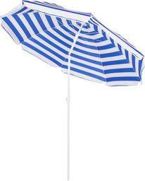 SPRINGOS Parasol plażowy ogrodowy 180 cm niebiesko-biały UNIWERSALNY