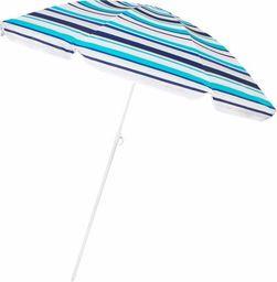SPRINGOS Parasol plażowy ogrodowy 160 cm niebieskie pasy UNIWERSALNY