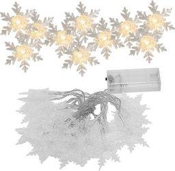 Lampki choinkowe SPRINGOS Lampki dekoracyjne 10 LED śnieżynki biały ciepły UNIWERSALNY