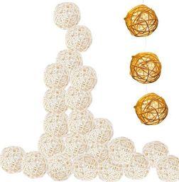 Lampki choinkowe SPRINGOS Lampki dekoracyjne rattanowe kule balls 10 LED 10 kul  UNIWERSALNY
