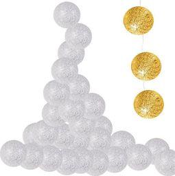 Lampki choinkowe SPRINGOS Lampki dekoracyjne cotton balls 10 LED 10 kul srebrne UNIWERSALNY
