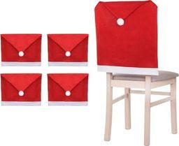 SPRINGOS Zestaw świątecznych pokrowców na krzesła czapka mikołaja 4 szt czerwony UNIWERSALNY