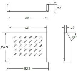 Linkbasic półka doczołowa 450mm 2U do szaf rack 19'' o głębokości 1000mm, szara (CFF100-1.5-B)