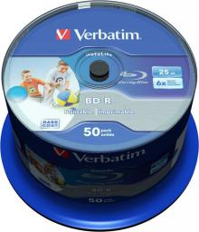 Verbatim Opt Media BD-R Verbatim 25GB 50szt SL  Wide Inkjet Printable (43812)