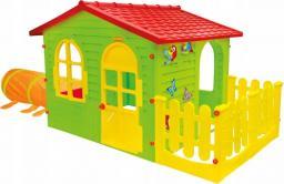Mochtoys Domek dla dzieci z ogródkiem i tunelem gąsienicą zielony
