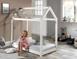 Vipack Drewniane łóżko dla dzieci z drewna sosnowego Domek białe 70x140 uniw