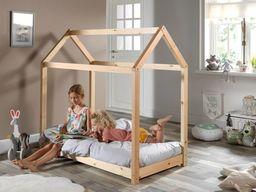 Vipack Drewniane łóżko dla dzieci z drewna sosnowego Domek sosna naturalna 70x140 uniw