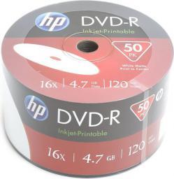 HP DVD-R 4.7GB 16x WHITE FF InkJet Printable White, 50 szt.