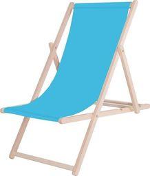 SPRINGOS leżak ogrodowy drewniany z materiałem, niebieski, uniwersalny (29388)