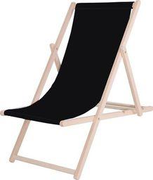 SPRINGOS leżak ogrodowy drewniany z materiałem czarny, uniwersalny (29384)