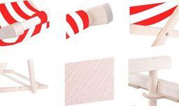 SPRINGOS leżak ogrodowy drewniany z materiałem czerwono-białe pasy, uniwersalny (29377)