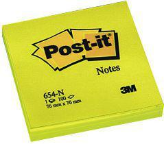 Blok biurowy Post-it Bloczek samoprzylepny 76x76/100K żółty neon (FT510010174)
