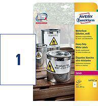 Avery Zweckform Białe etykiety Heavy Duty do drukarek laserowych 210x297mm 20 arkuszy (L4775-20)