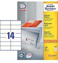 Avery Zweckform Etykiety Uniwersalne, Białe 105x41mm 100 arkuszy (3477)