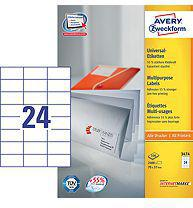 Avery Zweckform Etykiety Uniwersalne, Białe 70x37mm 100 arkuszy (3474)