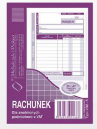 Michalczyk & Prokop Rachunek dla zwolnionych podmiotowo z VAT A6 80 kartek (232-5)
