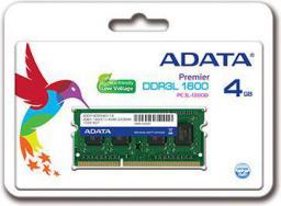 Pamięć do laptopa ADATA DDR3L SODIMM 4GB 1600MHz CL11 (ADDS1600W4G11-S)