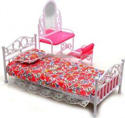 EduCORE Sypialnia łóżko toaletka krzesło lustro meble dla lalki Barbie