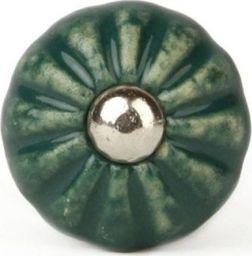 Knaufmanufaktur KWIATEK RETRO CIEMNOZIELONY - ceramiczna gałka do mebli