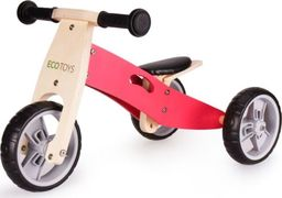 Ecotoys Rowerek biegowy trójkołowy drewniany 2w1 Pink Ecotoys