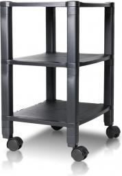 4World Podstawka pod drukarkę z półkami bez szuflady Czarna (09992)