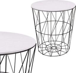 Springos Stolik kawowy loft, kosz metalowy industrialny 35 cm czarny, biały blat UNIWERSALNY
