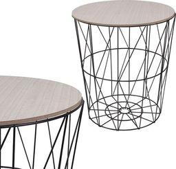 Springos Stolik kawowy loft, kosz metalowy industrialny 35 cm czarny UNIWERSALNY