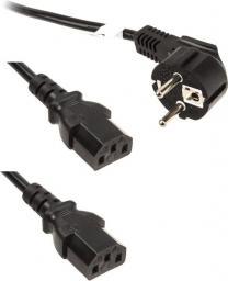 Kabel zasilający InLine rozgałęźnik 1x - 2x C13, 1,8m (16653)