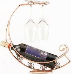 Stojak na wino metalowy, z miejscem na kieliszki!