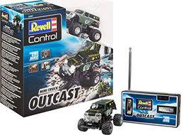 Revell Revell Control 23507 Mini RC Monster Truck Outcast z pilotem 27 MHz z funkcją ładowania, z resorowanymi osiami, oświetleniem LED 8 małych zdalnie sterowanych samochodów, długość: ok. 8 cm
