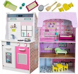 VimToys Drewniana kuchnia dla dzieci i domek dla lalek 2w1